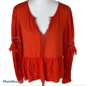 Lucky Brand swing top with fringe sleeve detail